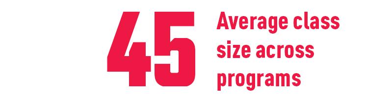 45 Average class size across programs